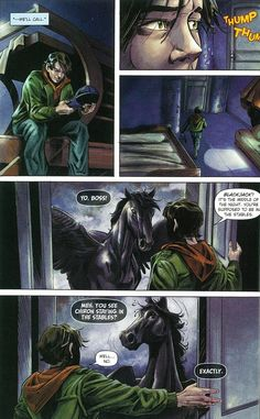 Percy Jackson graphic novel. Blackjack is sassier than Percy. The titans curse. Part 1