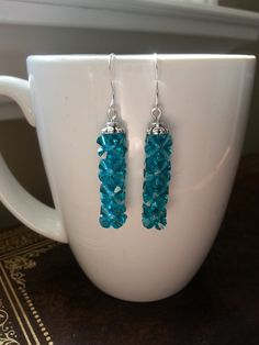 Swarovski Blue Zircon Earrings by SparklingYouDesigns on Etsy