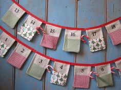Christmas Advent Bunting. Colours - Red, White, Sage Green. Patterns - Christmas Tree's, Gingham and Spots.