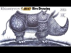 Draw a Rhino from memory in ballpoint biro pen! - YouTube
