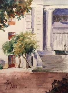Plein Air at Nunoa Square by guslopezr on @DeviantArt. Watercolor, line and wash.