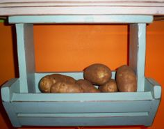 Bin for Veggies / Fruits, Produce Bin, Wood from recycled Pallet lumber, Kitchen container, soft turquoise, distressed