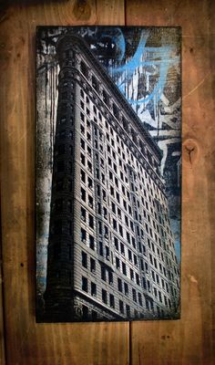 Likely my next piece but on a small scale to match my others...I LOVE THE FLAT IRON BUILDING!!! Flat Iron Blue NYC photography/ Graffiti/ paint on by therawart {one of my absolute favorite artists and she is a sweet heart <3 }