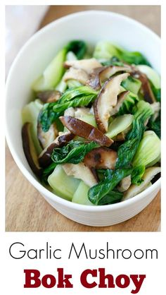 Garlic Mushroom Bok Choy – the easiest, healthiest, and best veggie dish with bok choy, mushroom and garlic. 3 ingredients & 10 minutes to make | rasamalaysia.com