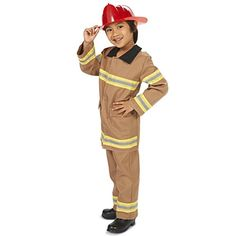 Tan Firefighter with Helmet Child Costume M (8-10)