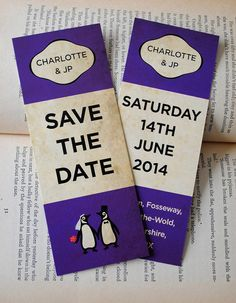 Classic Penguin Books Themed Wedding Save The Date Bookmarks by MartyMcColgan
