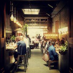 Restaurant Interior - Industrial, Tolix stools, exposed brick work, bare bulbs