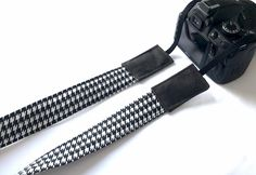 Camera Strap in Black & White houndstooth check. neoprene | Etsy Camera Pouch, Camera Straps, Waxed Canvas, Photography Equipment, New Bag, Cotton Bag, My Black, Houndstooth, Bag Making