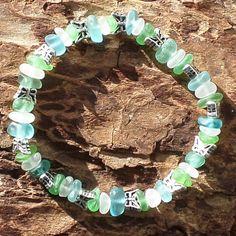 Sea Glass Bracelet AquaTurquoiseGreen and by KreationsfromKaos, $45.00