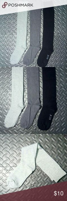 3 Knee-high Socks | Light grey, Grey, Black Some comfy knee highs to match your outfits! One light grey, grey with ruching, and black.  One size fits most. Black pair tried on once to test fit and then washed, other 2 pairs never worn.  Let me know if you have any questions and I will answer them ASAP! :) HUE Accessories Hosiery & Socks