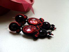 #soutache #earrings #black #red #silver #fashion #www.ludozerna.com