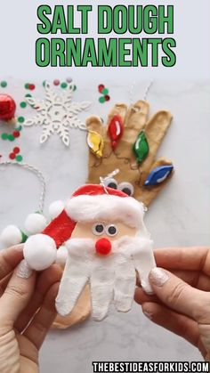 This Santa, Elf and reindeer salt dough handprint ornament is so cute! Make thes. - This Santa, Elf and reindeer salt dough handprint ornament is so cute! Make these as a Christmas gi - Kids Christmas Ornaments, Christmas Crafts For Toddlers, Easy Christmas Crafts, Toddler Crafts, Santa Christmas, Christmas Gift From Baby, Christmas Crafts For Kindergarteners, Christmas Crafts For Kids To Make Toddlers, Kids Ornament
