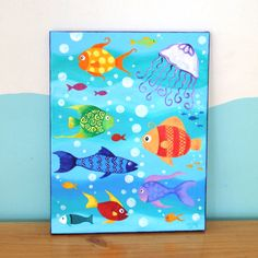 1000 images about fish on pinterest acrylic paintings for Canvas painting for kids