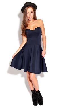 Talia Navy Strapless Skater Dress