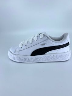 a22dc6a521edb Puma Basket Classic LFS Boys Kids Size 3 White Black Sneakers  fashion   clothing