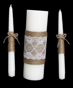 unit candles | Unity Candle, Rustic Unity Candle Set, burlap and lace unity candle ...