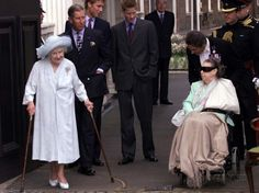 Photographic Print: Queen Mother waves on her 101 birthday watched by Princess Margaret in wheelchair and Prince Charle : Royal Family Pictures, Summer Family Photos, George Vi, Windsor, Horse Guards Parade, Lyon, Elisabeth Ii, Queen Mother, Herzog