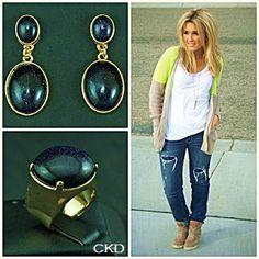 Brincos e anel com pedra estrela!! www.ckdsemijoias.com.br
