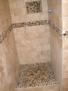 Bathroom After  Shower Stall With River Rock Part 85
