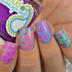 Water marble nail art. Neon jelly polish. Pipedream polish. China Glaze Fairy Dust top coat. Nail Design. Watermarble.