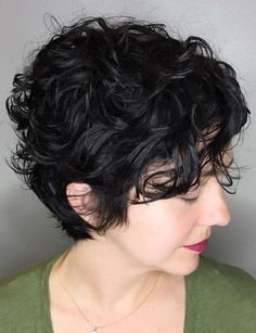 Contemporary Long Black Pixie With Messy Short Wavy Haircuts - Hair Styles Curled Pixie, Short Curly Pixie, Curly Pixie Hairstyles, Curly Hair Styles, Haircuts For Curly Hair, Short Pixie Haircuts, Curly Hair Cuts, Short Hair Cuts, Hairstyles 2018