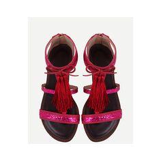 Red Fringe Flat Sandals ($15) ❤ liked on Polyvore featuring shoes, sandals, red flat shoes, red fringe shoes, red shoes, flat shoes and fringe flat sandals
