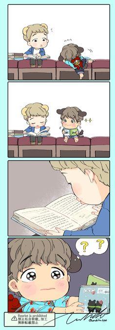 Namjin, Jikook, Bts Maknae Line, Dibujos Cute, Bts Imagine, Bts Drawings, Bts Chibi, Bts Fans, Kpop Fanart