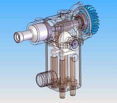 3D CAD drawing of a pump