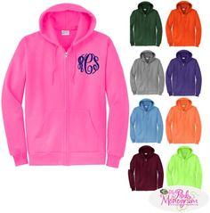 SALE! Monogrammed Full Zip Hooded Sweatshirt Jacket   Apparel & Accessories  www.thepinkmonogram.com