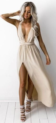 Beige Flirty Maxi Dress                                                                             Source