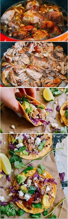 with Slow Cooked Pork Carnitas Tacos Recipe, it's absolutely the best tasting taco ever.Carnitas Tacos Recipe, it's absolutely the best tasting taco ever. Pork Recipes, Slow Cooker Recipes, Crockpot Recipes, Cooking Recipes, Healthy Recipes, Mexican Dishes, Mexican Food Recipes, Dinner Recipes, Dinner Ideas