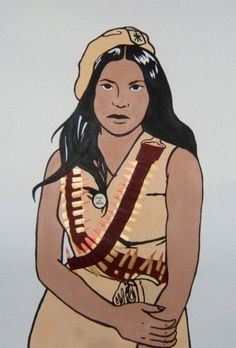 This painting features a Brown Beret Chicana whose portrait was taken during the 1970 National Chicano Moratorium. The Moratorium against the Vietnam war mobilized an estimated 20,000 to 30,000 peaceful protestors marched in East LA that August. The Brown Berets were a barrio self defense committee and many have referred to them at the parallel Chicana/o organization to the Black Panther party.   Artist: Melanie Cervantes Black Panther Party, Political Art, Mexican American, Chicano Art, Feminist Art, Back In The Day, Zine, Photo Art, Street Art
