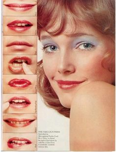 Easy guide to a makeup look by Besame Cosmetics founder Gabriela Hernandez. From shimmer eye shadows, bronze powders to perfect lips 1970s Makeup, Vintage Makeup Ads, Retro Makeup, Glam Makeup, Vintage Beauty, Vintage Ads, Beauty Makeup, Pastel Makeup, Patti Hansen