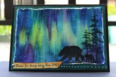 "Original  Painted - Father's Day Card - Northern Lights - 5.5"" x 7.5"