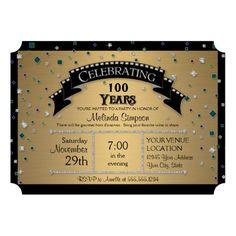Ticket Style 100th Birthday Party Invitations To Celebrate A Profoundly Special Achievement Of Reaching The