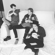 Bradley Will Simpson, James Daniel McVey and Tristan Oliver Vance Evans plus Bradley Will Simpson's spaghetti