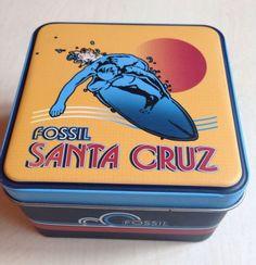 FOSSIL Santa Cruz Surfing Waves Surf Board California 2003 Watch Tin only