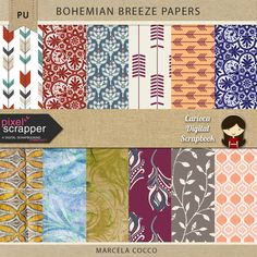 "FREE PixelScrapper September Blog Train – ""Bohemian Breeze"" : Carioca Digital Scrapbook"