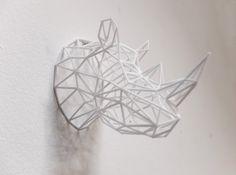 3D printed rhino head.