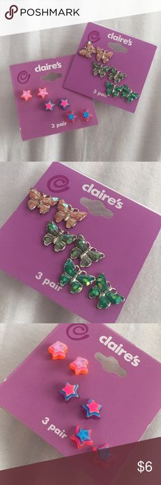 Claire's Earring Bundle 3 pairs of cute 3D neon stars and 3 pairs of adorable sparkly pastel butterflies. Never worn. The earring backs on the butterfly set are slightly tarnished, most likely from age (the actual earrings look just like new). The star set looks brand new. Claire's Accessories Jewelry