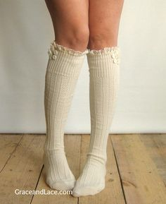 The Milly Lace - Cream Cable-knit Boot Socks w/ Ivory Lace knit lace trim and buttons (Item no. 5-7)