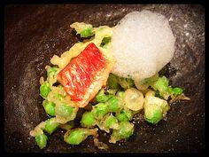 peas tempura with fish and lemon foam in Koy Shunka japanese restaurant ~ thebarcelonaexperience.blogspot.com