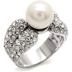 Michela Pavé Crystal Faux Pearl Ring