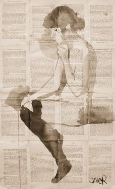 "Saatchi Online Artist: Loui Jover; Pen and Ink, Drawing ""nude in black stockings"""