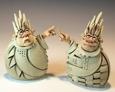 Shakers pair Whimsical Stoneware sculptures by Rex by RexBenson