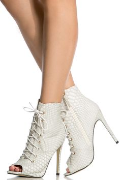 White Faux Snake Skin Lace Up Peep Toe Booties @ Cicihot Heel Shoes online store sales:Stiletto Heel Shoes,High Heel Pumps,Womens High Heel Shoes,Prom Shoes,Summer Shoes,Spring Shoes,Spool Heel,Womens Dress Shoes