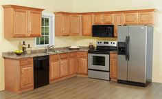 L-Shaped Simple Kitchen Design for small House. Source-rtacabinetstore