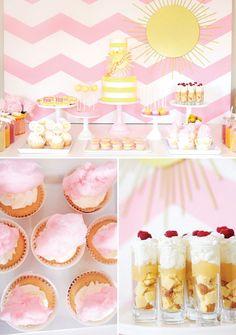 Pink Chevron You Are My Sunshine Birthday Party // Hostess with the Mostess® Sunshine Birthday Parties, Baby Birthday, First Birthday Parties, Birthday Party Themes, Birthday Invitations, First Birthdays, Birthday Ideas, Birthday Table, Kid Parties