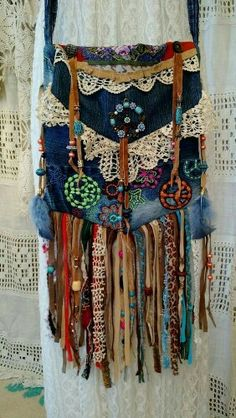 Denim and lace with beads and fringe bag cross shoulder bag purse pocket book