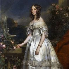 Princess Victoria of Saxe-Coburg and Gotha, born 1822, daughter of Prince Ferdinand of Saxe-Coburg and Gotha and Princess Maria Antonia Koháry. On 27 April 1840, she married Prince Louis, Duke of Nemours and they had four children together. She died two weeks after giving birth to her fourth child on 10 November 1857. Franz Xaver Winterhalter, Woman Painting, Artist Painting, Shadow Painting, Female Portrait, Portrait Art, Princess Painting, French History, European History